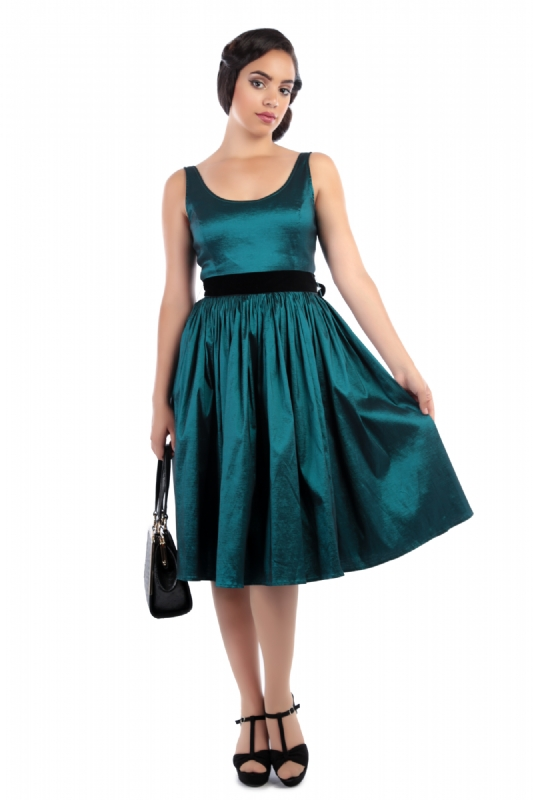 Luna Taffeta Swing Dress Teal