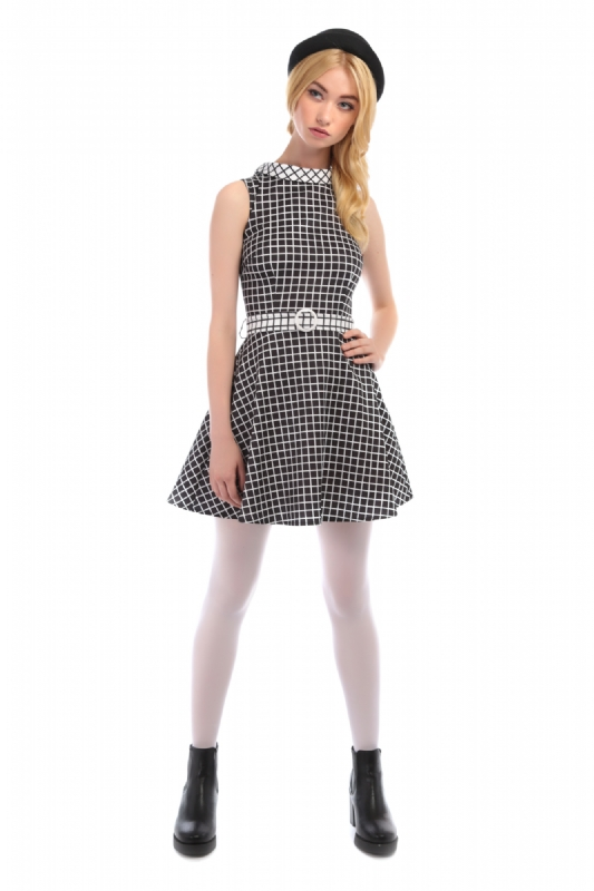 Ruth flared checked dress  black and white