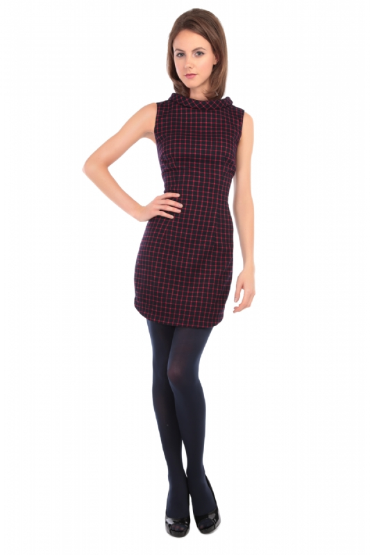 Ruth Waffle Check Dress Navy and Red