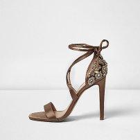 Brown Satin Sandals, £89