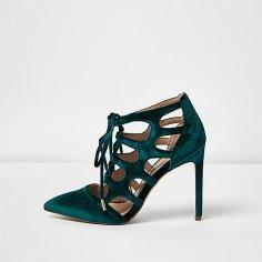 Teal Velvet Heels, £55